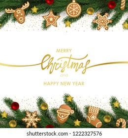Merry Christmas and Happy New Year greeting card with fir, gingerbread and toys on white background. Winter holiday pattern for templates, greeting card, menu and invitations with text place.