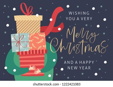 Merry christmas and happy new year greeting card with gift boxes and hand drawn lettering. Postcard or invitation template. Vector illustration