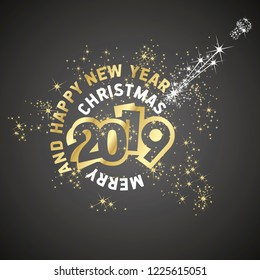 Merry Christmas Happy New Year 2019 firework greeting card gold black vector