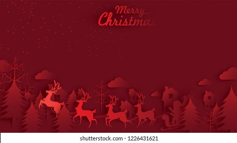 Merry Christmas and Happy New Year. Illustration of Santa Claus on the sky with reindeer sleigh and bag of gift, paper art and digital craft style
