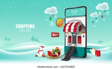 Merry Christmas and Happy New Year. Winter Snowy. Online on Website or Mobile Application Vector Concept Marketing and Digital marketing. Horizontal view. VECTOR