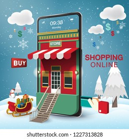 Merry Christmas and Happy New Year. Winter Snowy. Shopping Online Mobile Phone VECTOR