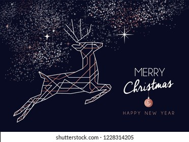 Merry Christmas and Happy New Year abstract deco copper design with reindeer in outline style. Ideal for holiday greeting card, poster, campaign or web.
