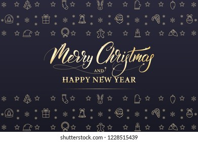 Merry Christmas and Happy New Year. Winter holiday banner with gold decorations and Xmas calligraphy.