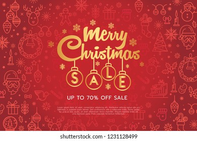 Merry Christmas and Happy New Year sale banner background with christmas icon set. Merry Christmas text Calligraphic Lettering design card template. Vector illustration