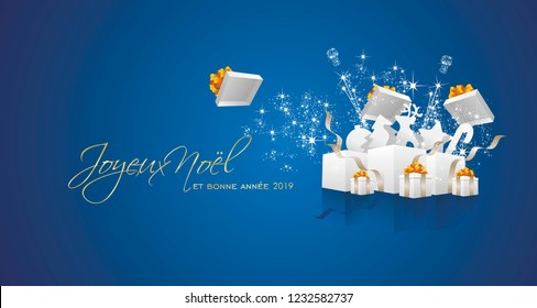 Merry Christmas and Happy New Year 2019 French language Joyeux noel et bonne annee firework white box blue greeting card
