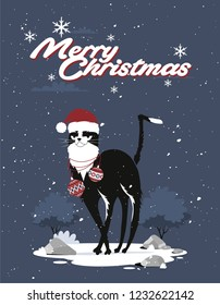 Merry Christmas and Happy New Year greeting card design. Cute cat with beard and Santa hat. Vector illustration