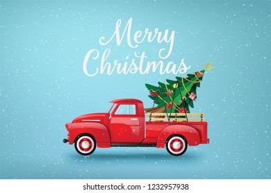 Merry Christmas and Happy New Year  with red truck and christmas tree.