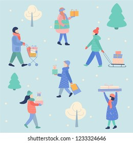 Merry Christmas and Happy New Year template with people carrying christmas gifts on winter background. Vector ilustration, hand drawing cartoon modern style, pastel colors.