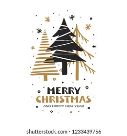 Merry Christmas and Happy New Year hand drawn card. Gold and black fir trees in simple scandinavian cartoon style. Vector vintage illustration.