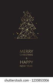 Merry Christmas and Happy New Year. Vector modern template card. Abstract geometric christmas tree.