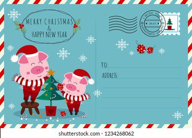 Merry christmas & happy new year postcard.Two santa claus piglets,father and son decorating christmas tree with candy canes, stars, christmas balls.Cartoon animal character vector design.