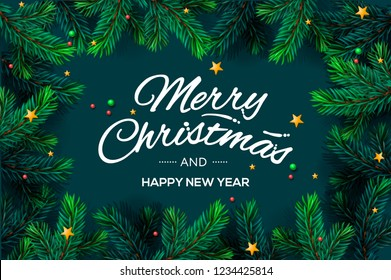 Merry Christmas and Happy New Year lettering with Christmas Tree Branches template, vector illustration.
