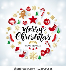 Merry Christmas and Happy New Year calligraphic lettering design on shiny Christmas background with origami snowflakes, stars, gloves, balls, trees, socks, hats and candies.