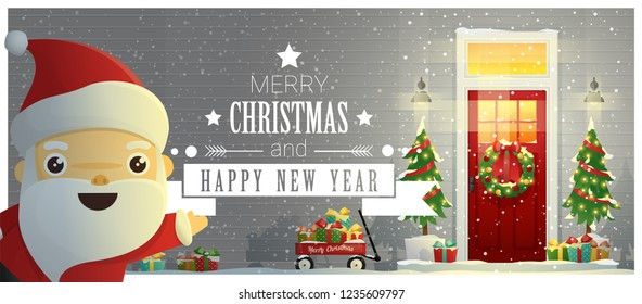 Merry Christmas and Happy New Year background with decorated Christmas front door and Santa Claus , vector , illustration