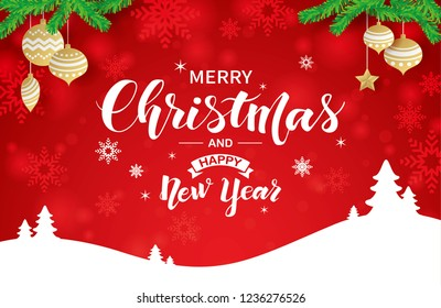 Merry Christmas and Happy New Year calligraphic lettering design on shiny red background with snowflakes, star, balls, and trees.