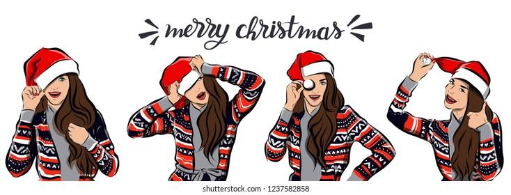 Merry Christmas and happy new year girl image.