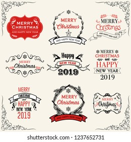 Merry Christmas. Happy New Year, 2019. Typography set. Vector logo, emblems, text design. Usable for banners, greeting cards, gifts etc.