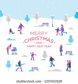 Merry Christmas and a Happy New Year greeting card. People a strolling in the city park. Outdoor activities. Vector illustration.