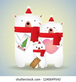 Merry Christmas and Happy New Year Cute family bears.