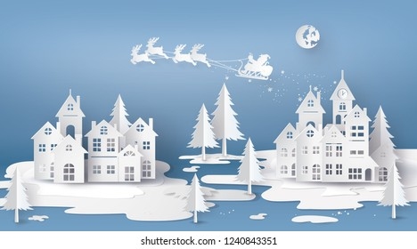 Merry Christmas and Happy New Year. Illustration of Santa Claus on the sky coming to City ,paper art  3D and craft style