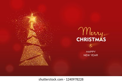 Merry Christmas and Happy New Year luxury greeting card illustration, xmas pine tree made of gold glitter texture on festive red background with holiday text quote.