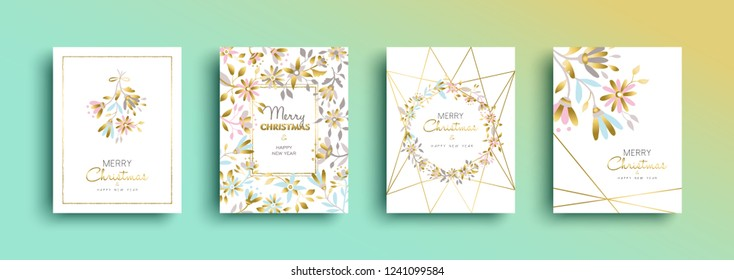 Merry Christmas and happy new year gold greeting card set. Floral decoration for xmas season nature illustration.