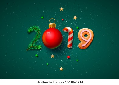 Merry Christmas and Happy New Year 2019 greeting card, vector illustration.
