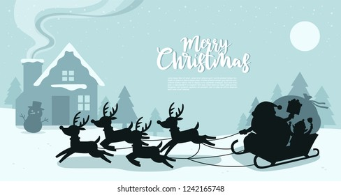 Merry Christmas And Happy New Year Greeting Card. Silhouettes of Santa riding in sledge with reindeers on background.