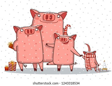 Merry Christmas and Happy New Year background with pig family , vector , illustration