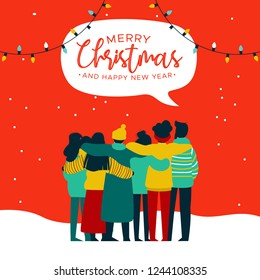 Merry Christmas and Happy New Year greeting card illustration of young people friend group hugging together at xmas holiday party. Diverse culture friends team celebrating.