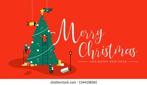 Merry Christmas and Happy New Year greeting card, People group making big xmas pine tree together for holiday season with ornament decoration, gifts and ligths over red background.
