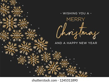 Merry Christmas and Happy New Year Holiday Greeting Card Vector Text Snowflake Illustration Background