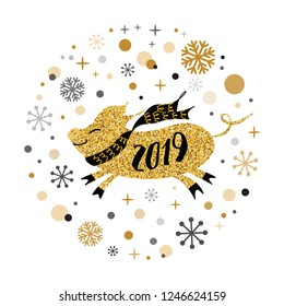 Merry Christmas and Happy New Year 2019 golden pig, gold snowflakes stars banner on white New Year design template with yellow pig for east calendar Cute sign postcard poster Vector illustration