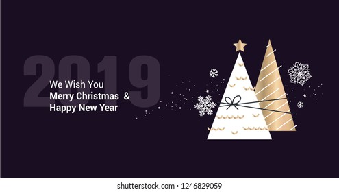 Merry Christmas and Happy New Year 2019. Vector illustration concept for background, greeting card, website and mobile website banner, party invitation card, social media banner, marketing material.