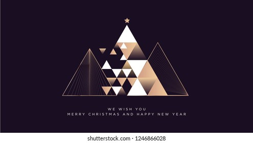 Merry Christmas and Happy New Year 2019 business greeting card. Modern vector illustration concept for background, party invitation card, website banner, social media banner, marketing material.