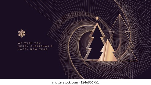 Merry Christmas and Happy New Year 2019. Modern vector illustration concept for background, greeting card, party invitation card, website banner, social media banner, marketing material.