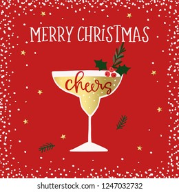 Merry Christmas, Happy New Year greeting card. Cocktail, wine glass with holly berries. Cheers handletterd text. Winter celebration, party concept. Red background with snow and golden stars.