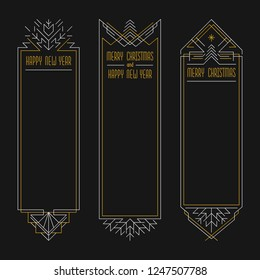 Merry Christmas and Happy New Year text. Art deco frames in outline style. 2019 Xmas banners in golden and silver colors.