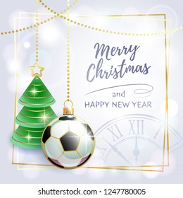 Merry Christmas. Happy New Year. Sports greeting card. Soccer. Vector illustration.
