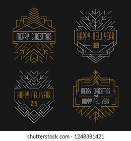 Merry Christmas and Happy New Year text. Art deco badges in outline style. 2019 Xmas card in golden and silver colors.