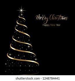Merry Christmas Hand Lettering Round Desiign Stock Vektorgrafik