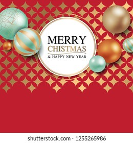 Merry Christmas and Happy New Year Square Border, Luxury Chrismas Greeting Card with Decorative Ball, Gold Red Backgroud Vector Illustration
