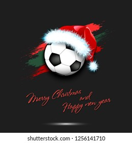 Merry Christmas and Happy new year. New year and soccer ball in santa hat on isolated black background. Design pattern for greeting card. Vector illustration