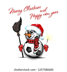 Merry Christmas and happy new year. Snowman from soccer balls on an isolated background. Pattern for banner, poster, greeting card, party invitation. Vector illustration