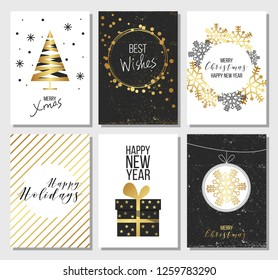 Merry Christmas and happy new year background. Vector illustration with Christmas elements. Set of greeting cards.