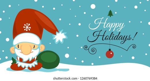 Merry Christmas and Happy New Year post card with cute Santa Clause in cartoon style on blue background with falling snow