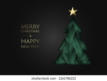 Merry Christmas and Happy New Year. Vector modern template card. Abstract christmas tree.