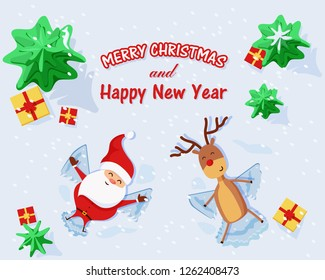 Merry Christmas and Happy New Year greeting card. Santa Claus and Rudolph the reindeer  with red nose are making snow angels surrounded by trees and gifts.