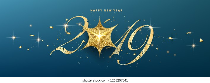 merry christmas and happy new year 2019 vector greeting card and poster design with golden ribbon and star. - Vector - Vector
